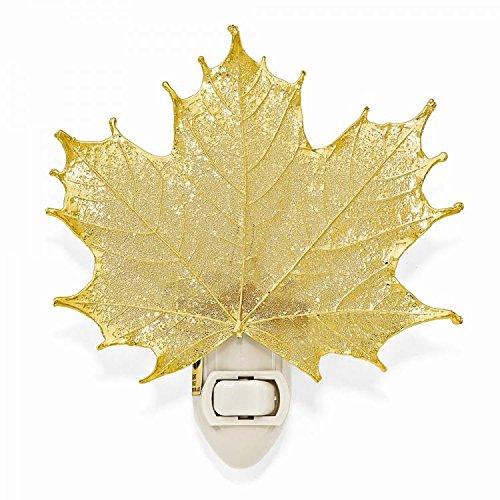 24k Gold Coated Real Sugar Maple Leaf Nightlight -Made in USA (Night Leaf Light Maple)