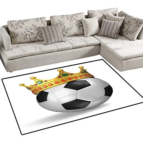King Floor Mat for Kids Football Soccer Championship Inspired Ball Crown with Ornaments Image Print Bath Mat Non Slip 55
