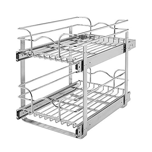 Rev-A-Shelf 5WB2-1822-CR 2-Tier 18-Inch Wire Basket Pull Out Cabinet Organizer, Chrome