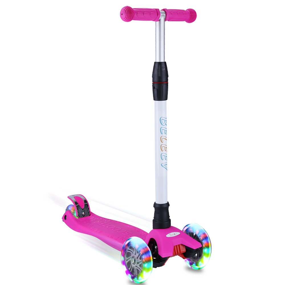 BELEEV Kick Scooter for Kids 3 Wheel Scooter, 4 Adjustable Height, Lean to Steer with PU LED Light Up Wheels for Children from 3 to 12 Years Old (Rose Pink)