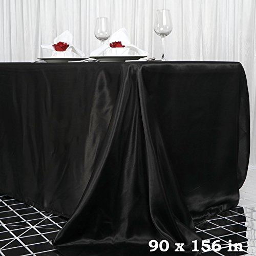 "Efavormart 90x156"" Rectangle BLACK Wholesale SATIN Tablecloth Banquet Linen Wedding Party Restaurant Tablecloth"