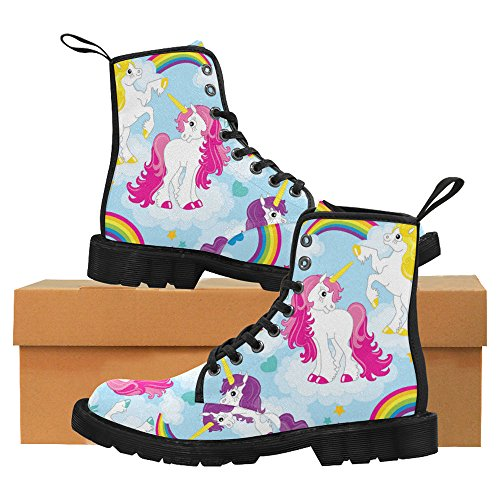 InterestPrint Day Of The Dead Skulls Flowers and Herbs Lace Up Boots Fashion Shoes For Women Black Sole Unicorn2 GNs4H0k