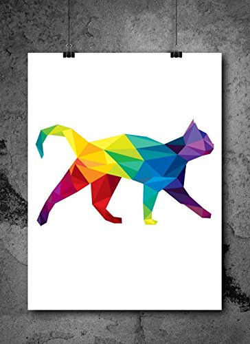 Cat Watercolor (Watercolor Pixelated Cat 8x10 inch Print Home Contemporary Art Abstract Prints Wall Art for Home Decor Wall Decorations For Living Room Bedroom Office Ready-to-Frame)