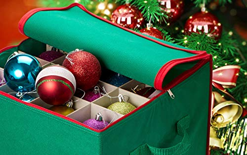 Christmas Ornament Storage.Christmas Ornament Storage Stores Up To 64 Holiday Ornaments Adjustable Dividers Zippered Closure With Two Handles Attractive Storage Box Keeps