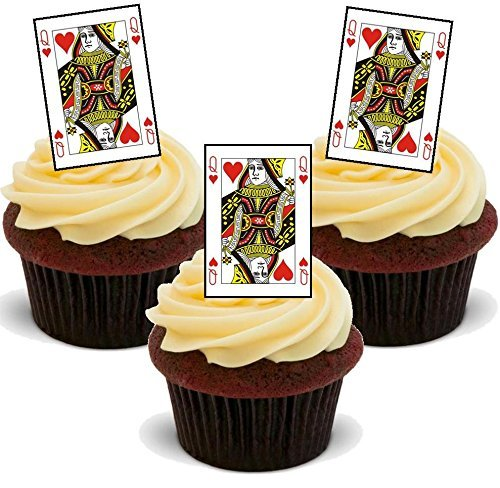 Queen of Hearts Playing Cards - Fun Novelty Birthday PREMIUM STAND UP Edible Wafer Card Cake Toppers Decoration