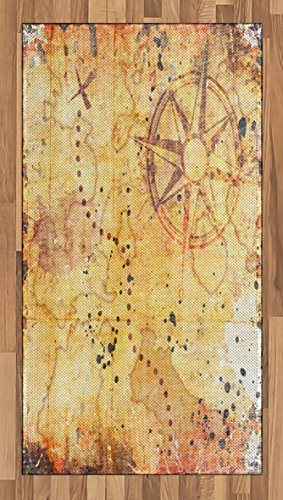 (Ambesonne Island Map Area Rug, Antique Treasure Map Grunge Rusty Style Parchment Print History Theme Boho Design, Flat Woven Accent Rug for Living Room Bedroom Dining Room, 2.6 x 5 FT, Beige)