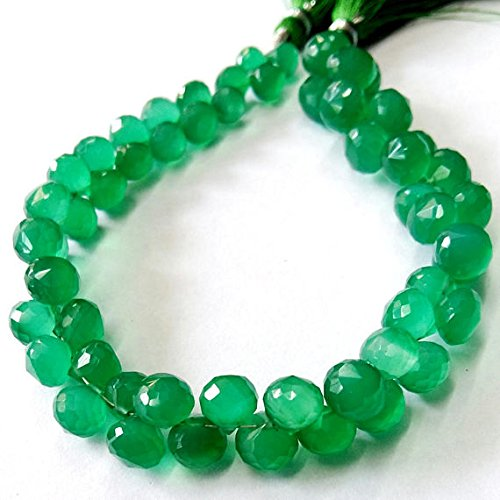 GREEN ONYX faceted onion shaped beads,Good quality , 6 -- 8 mm Approx, 8 inch strand