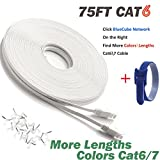 BlueCube - Ethernet Cable CAT6 Flat 75ft White , RJ45 Flat Slim Ethernet Patch Cable, Flat Slim Internet Cable, Network Cable with Snagless RJ45 Connectors - 75 Feet White