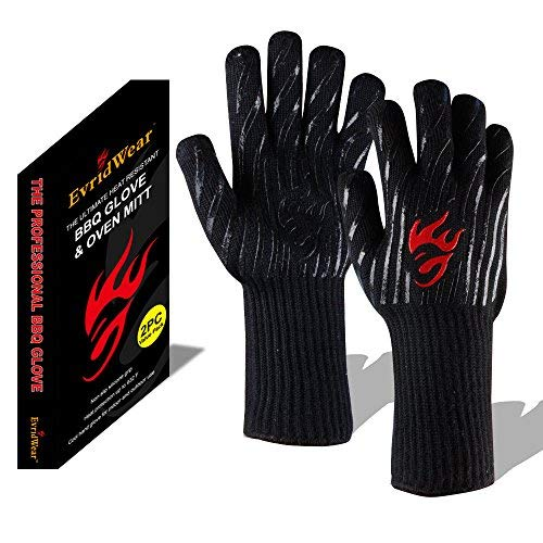 - Evridwear 932°F Extreme Heat and Cut Resistant BBQ Gloves Oven Mitts, Non-Slip Silicone Coated Pot Holders for Cooking, Baking, Grilling, Camping, Fireplace and Microwave (Extended Cuff, Black)