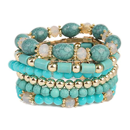 RIAH FASHION Multi Layer Bead Bracelet - Colorful Stacking Beaded Strand Stretch Cuff Statement Bangles Set (Turquoise)