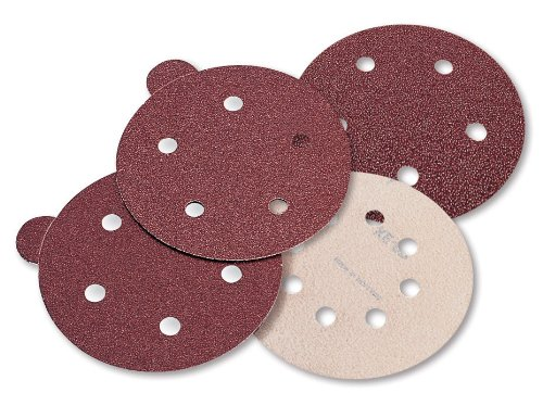 Mercer Single Hole - Mercer Abrasives 5790220-100 Aluminum Oxide Red Discs, 5-Inch by No Dust Holes Single Discs with Tabs, 220E Grit, 100-Pack