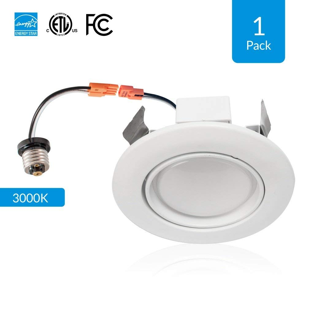 1-Pack 4-inch Dimmable LED Eyeball Downlights, 10W (Replace 50W), Adjustable Beam Angle Eyeball Design, 3000K (Soft White), Voltage: 120V-277V, CRI 90+[High CRI], cETLus, Energy Star & FCC approved