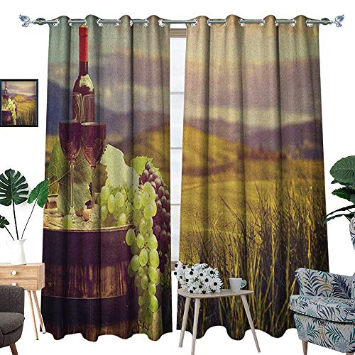 Warm Family Wine Window Curtain Fabric Italy Tuscany Landscape Rural Vineyard Autumn Harvest Grapes Drink Viticulture Drapes for Living Room W108 x L84 Green Black Brown