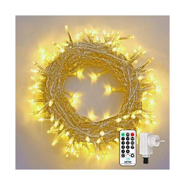 Qedertek Catena Luminosa, Cavo trasparente, Luci Stringa 23 Metri 200 LED, Addobbi Natalizi per Albero di Natale, Luce Natalizie per Decorazione Interno (Bianca Calda) 1 spesavip