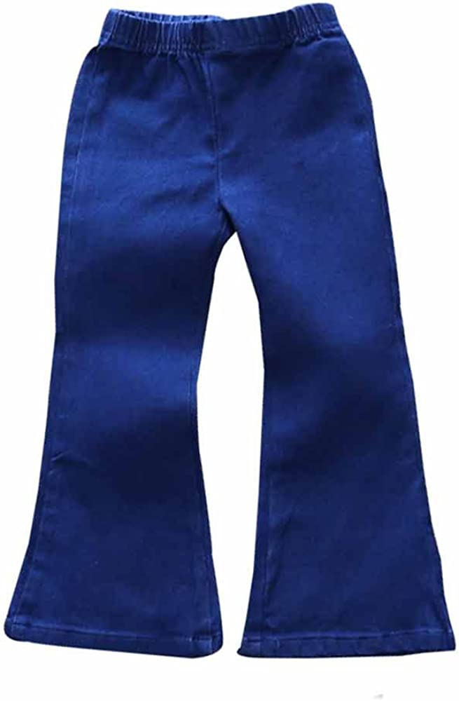 Mary ye Baby Girls Jeans Outfit Kids Bell Elastic Blue Pants