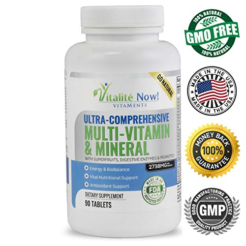 Best Daily Multivitamin & Mineral - Vitamins A B1 B2 B6 B12 C D3 E & 110 Super Foods, Herbs, Greens & Reds - Enzymes & Probiotics for Immune Support - Energy Boost - 90 Tablets