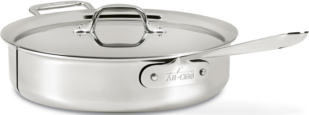 All-Clad 4406 Stainless Steel 3-Ply Bonded Dishwasher Safe Saute Pan with Lid Cookware,6-Quart, Silver