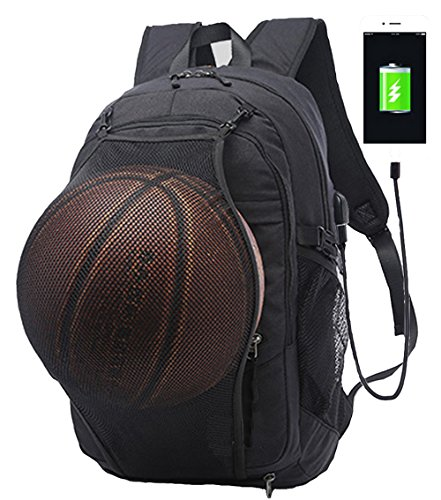 Business Laptop Backpack, Casual Travel Daypack, Sports Backpacks, Computer Shoulder Bag with USB Charging Port, Headphone Jack and Basketball Mesh , Fits UNDER 15.6 inch (Black)