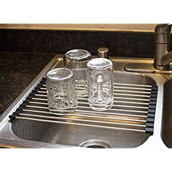 Roll Up Kitchen Dish Drying Rack | Over The Sink Dish Drainer Stand | Size  15