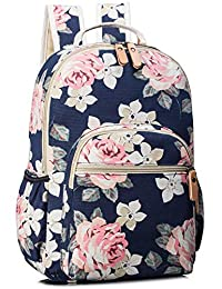 School Backpack for Girls, Floral Canvas Casual Laptop Book Bag Travel Hiking Daypack Dark Blue