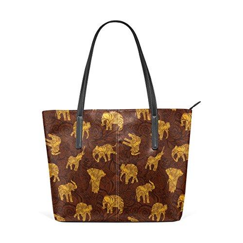 21442efde53b2 COOSUN Elefanten im indischen Stil PU Leder Schultertasche Handtasche und Handtaschen  Tasche für Frauen