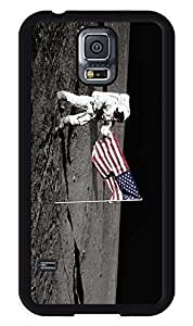 Samsung Galaxy S5 Silicone Black Case USA National Flag and Astronaut on the Moon S5 TPU Soft Covers hjbrhga1544