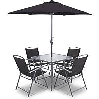 Gardeon 6Pcs Outdoor Dining Sets 4 Floding Chair Table Umbrella for Patio Garden Yard-Black