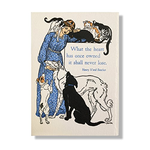 Letterpress Pet Dog Cat Sympathy Set of 4 Cards Rainbow Bridge Memorial