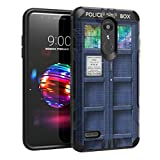 Capsule Case Compatible with LG K30, LG K10 2018, LG Premier Pro LTE [Hybrid Dual Layer Silm Defender Armor Combat Case Black] for LG K10 (2018), LG K30 (X410) - (Blue Phone Booth)