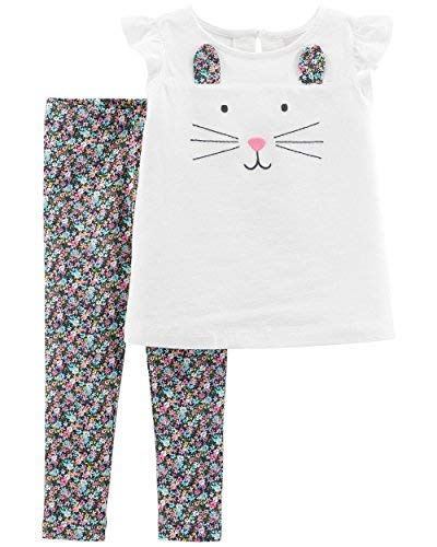 Carter's Baby Girls' 2-Piece Top and Legging Set (Ivory Bunny/Floral, 24 Months)