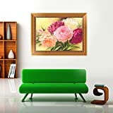 AIRDEA DIY 5D Diamond Painting by Number Kit, Full Drill Peony Flowers Rhinestone Embroidery Cross Stitch Supply Arts Craft Canvas Wall Decor