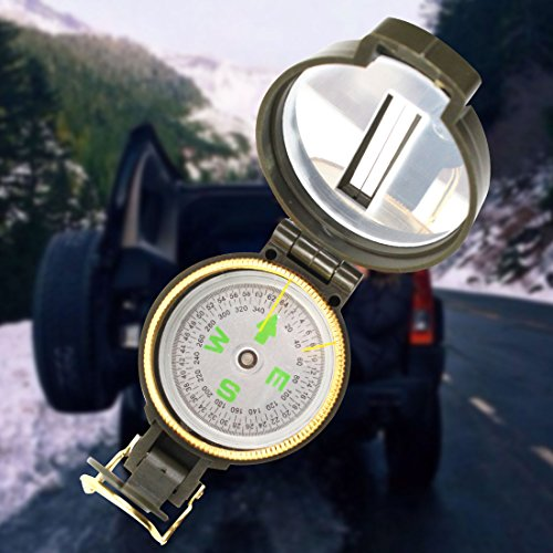 Multifunction Military Lensatic Compass,Lightweigh,Foldable,Hiking Sighting Compass