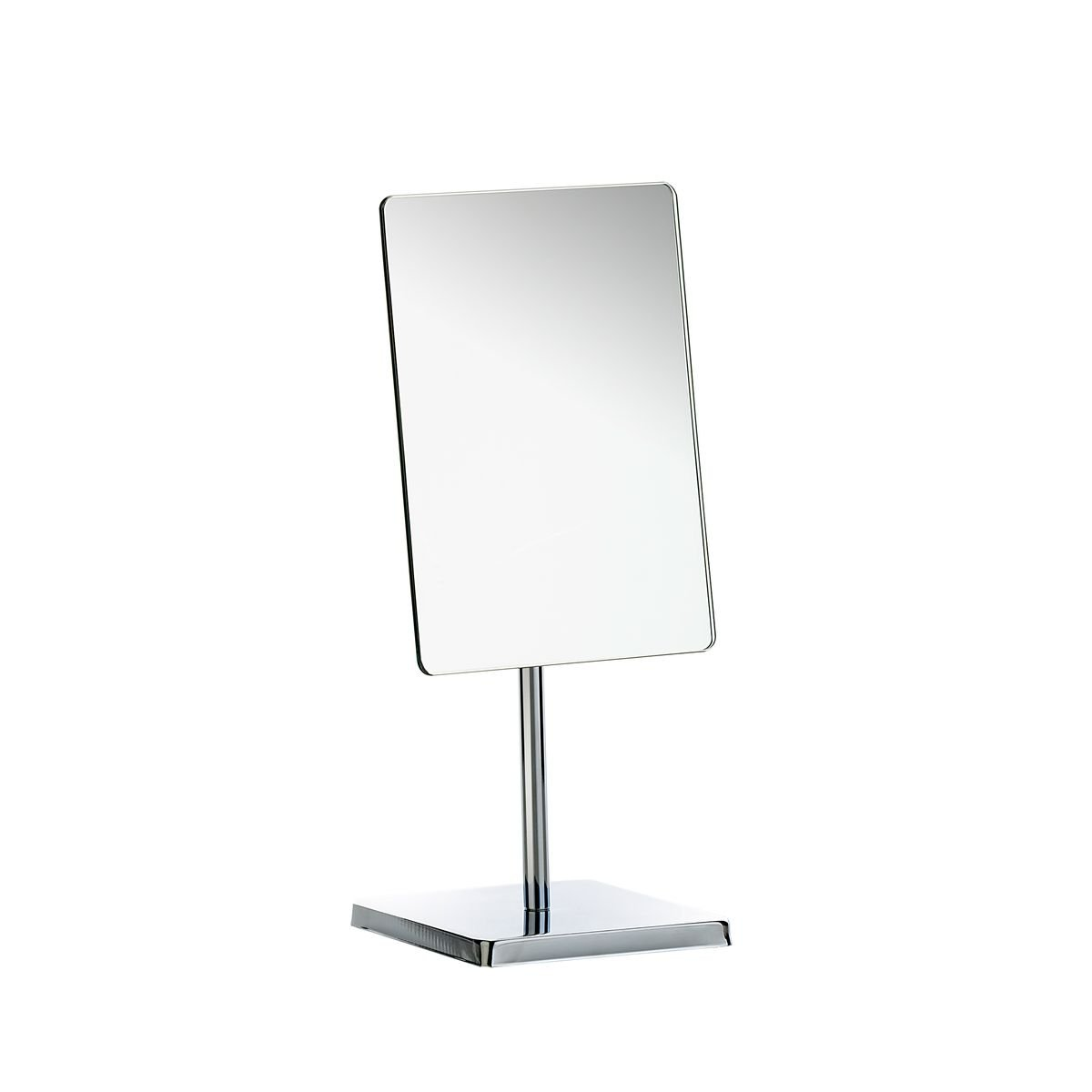 Axentia LED Cosmetic Mirror Pedestal Mirror Rectangular Table Mirror with Base Bathroom Vanity Mirror 16.5 x 23 x 14 cm Metal Silver 126807