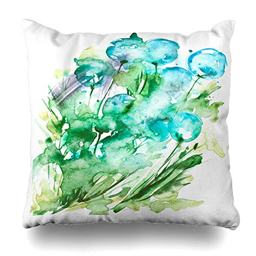 """Ahawoso Throw Pillow Cover Seeds Blue Air Watercolor Wild Flower Dandelion Allergies Abstract Green Aroma Blossom Design Home Decor Cushion Case Square Size 18""""x18"""" Inch Decorative Pillowcase"""