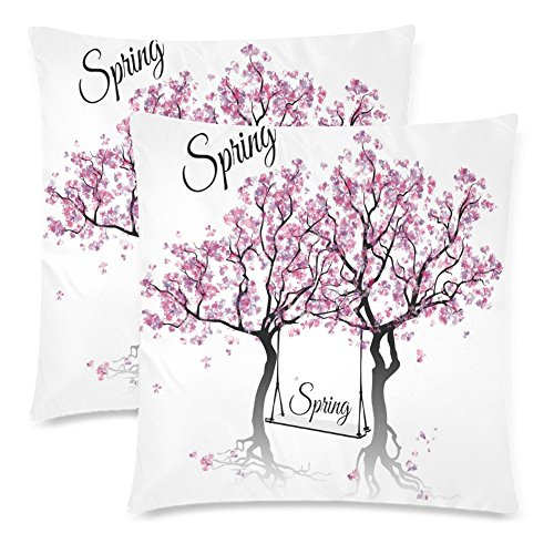 InterestPrint Springtime Blossoming Tree Branches Pillow Covers 18x18 for Couch Bed, Watercolor Spring Tree Zippered Throw Pillow Case Pillowcase Shams Home Decor, Set of 2 (Springtime Decor)