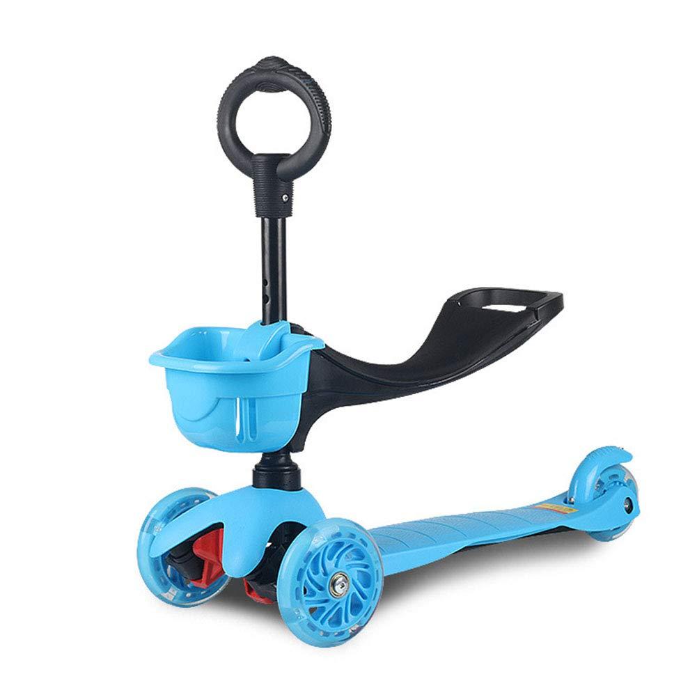 キックスクーター ハンドブレーキ 持ち運び便利なベ 持ち上げる アルミニウム製 立 3-8歳に適しています,black B07PQ8NQYG blue blue