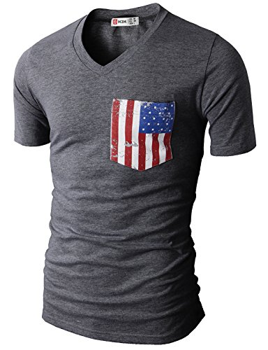 H2H Men's Casual V-Neck Short Sleeve T-Shirts with American Flag Chest Pocket Charcoal US XL/Asia 2XL (CMTTS0173)