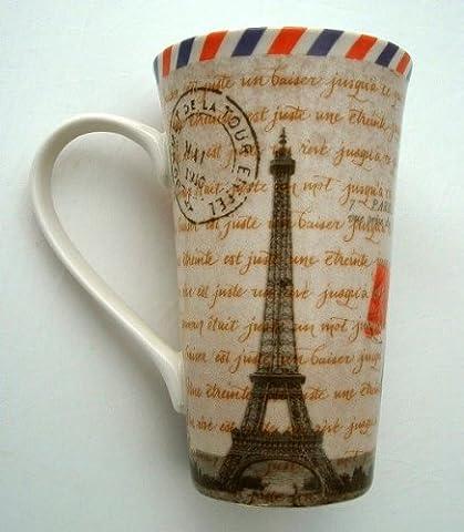 Postcard from Paris Eiffel Tower Tall Latte Fine China Mug (Eiffel Tower Dvd Tower)