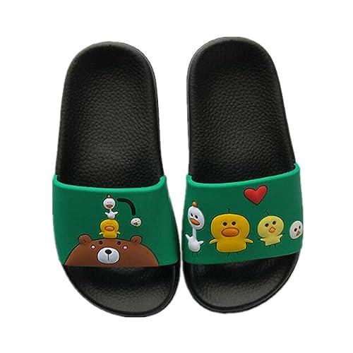 e89d408894d539 BININBOX Kids Boys Slides Slippers Non-Slip Sandals Beach Flip-Flops Girls  Slim (