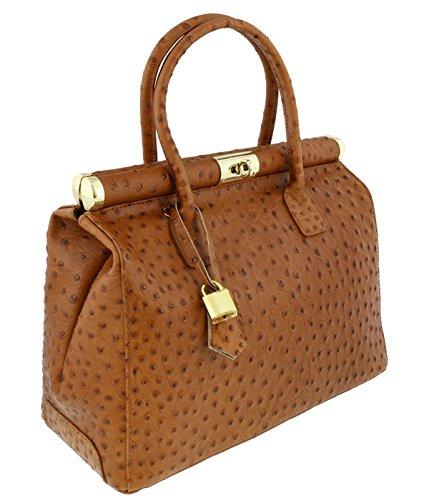 [HS Collection HS8005 SCU MINERVA Tan Satchel/Shoulder Bag] (Minerva Collection Fashion)