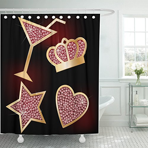 Emvency Shower Curtain Bling Crown Star Heart The Martinis Decorated Brilliants Diamond Waterproof Polyester Fabric 60 x 72 inches Set with Hooks