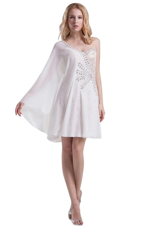 GEORGE BRIDE Graceful Asymmetric Beaded Lace Short Dress