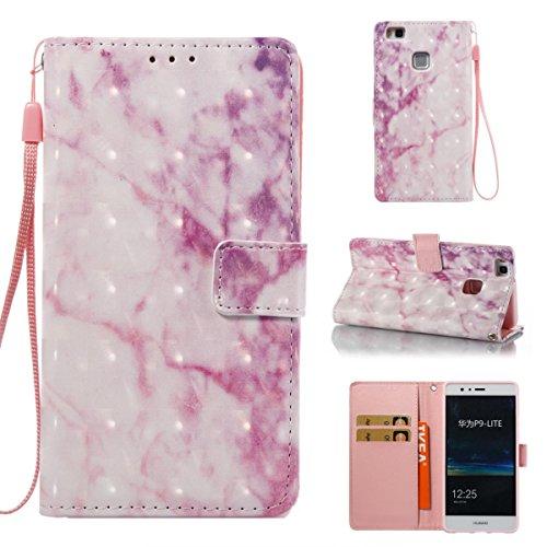 Funda Huawei P9 Lite, Cyan Funda Libro de Cuero Flip Cover con TPU Case Interna Para Huawei P9 Lite, Wallet Case con Soporte Plegable, Ranuras para Tarjetas y Billete Rosa