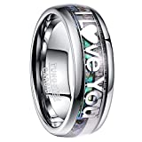 Nuncad 8mm Tungsten Ring Natural Abalone Shell and Deer antler Inaly I Love You Wedding Ring Size 8