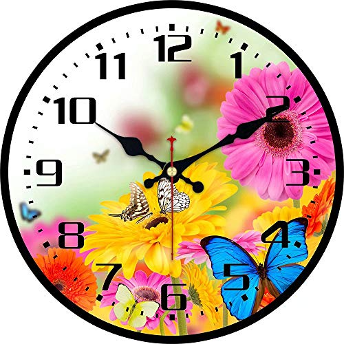 - ShuaXin Wooden 14 Inch Office Decor Wall Clock,Vintage Rustic Country Style Colorful Flowers and Butterfly Design Wall Clock for Dining Room,Classroom