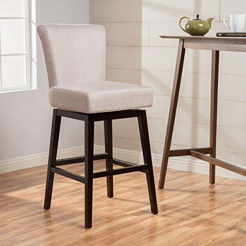 Tristan Dark Charcoal Fabric Swivel Barstool (Wheat) by GDF Studio