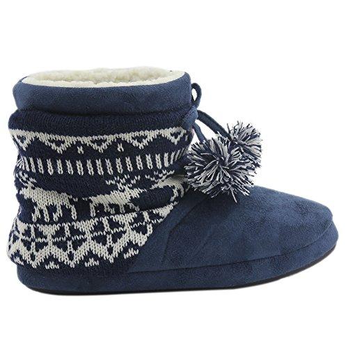 Gohom Kvinners Varm Vinter Innendørs Tøffel Støvler Huset 2 # Dyp Marineblå