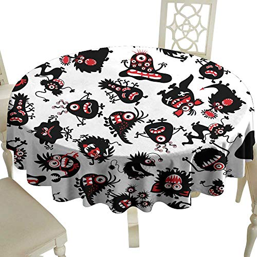 WinfreyDecor Washable Table Cloth Funny Monsters Pattern for Little boy Halloween Scary Creatures Great for Buffet Table D39