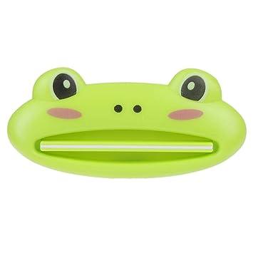 Seawang Dispensador de tubo de cosméticos/exprimidor de pasta de dientes de animales lindos/rana verde: Amazon.es: Hogar
