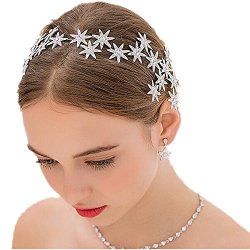 Wiipu Bride Wedding Crystal Rhinestone Star Crown Hair Accessories(N432) (2#-flower)